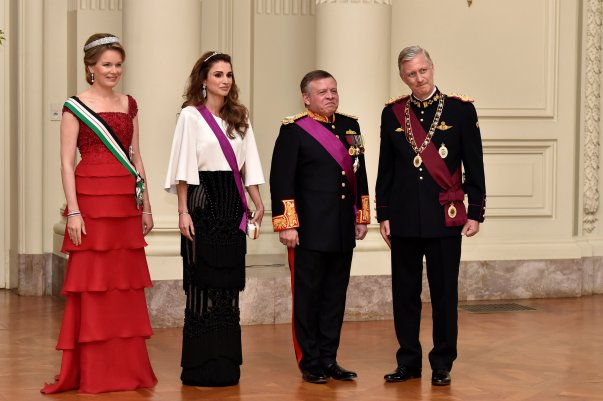 Belgium's King Philippe, Queen Mathilde, Jordan's King Abdullah and his wife Queen Rania take part in a gala dinner at the Royal Castle of Laken in Brussels