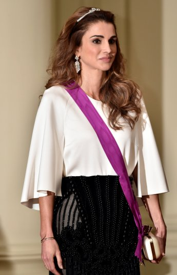 Jordan's Queen Rania take part in a gala dinner at the Royal Castle of Laken in Brussels