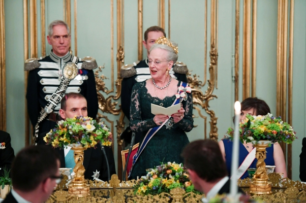 Danish Queen Margrethe delivers a speech at the Gala Dinner at Amalienbog Castle
